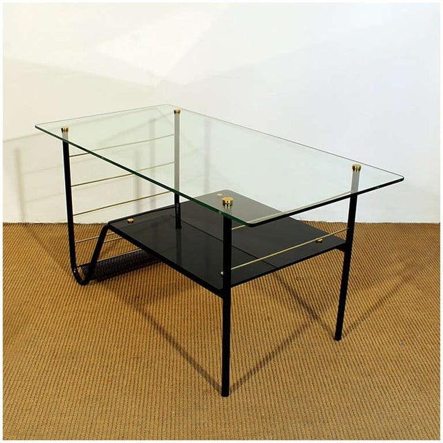 Pierre Guariche 1960s Coffee Table by Pierre Guariche, Metal, Glass, Opaline, Brass - France For Sale - Image 4 of 8