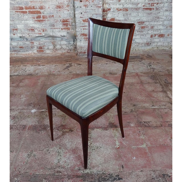 1940s Vintage Italian Art Deco Mahogany Dining Chairs - Set of 6 For Sale - Image 5 of 10