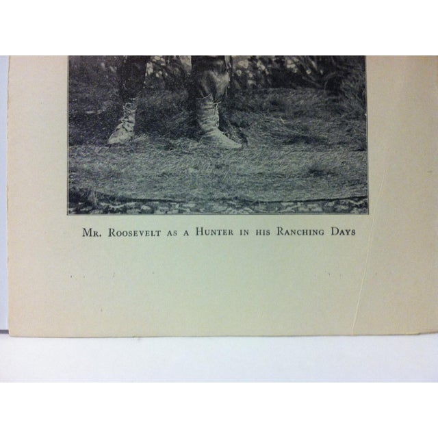 """Realism 1919 """"Mr. Roosevelt as a Hunter in His Ranching Days"""" Theodore Roosevelt Print on Paper For Sale - Image 3 of 4"""
