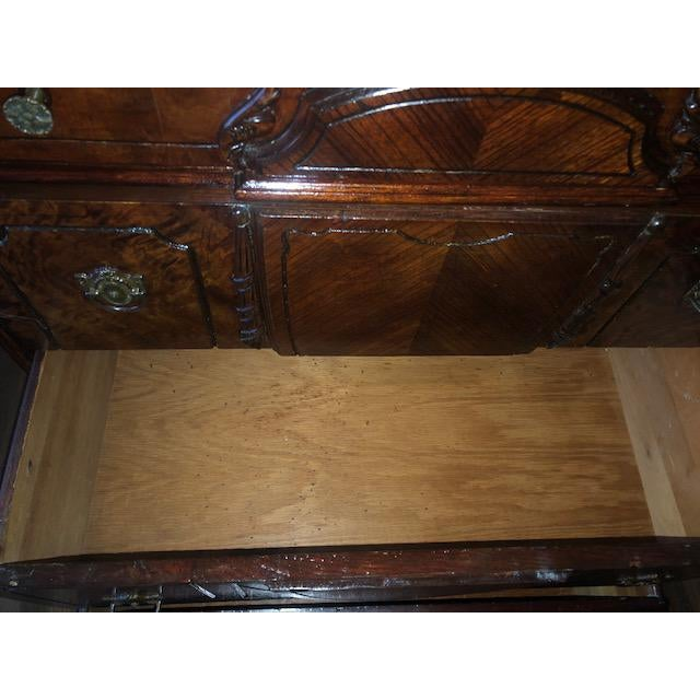 Antique 1930's Burled Walnut Dresser Chest Bureau With Mounted Glove Box For Sale - Image 12 of 13