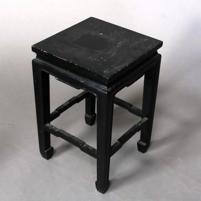 Chinese Vintage Black Lacquered Chinese Side Stands, 20th Century - Set of 4 For Sale - Image 3 of 13