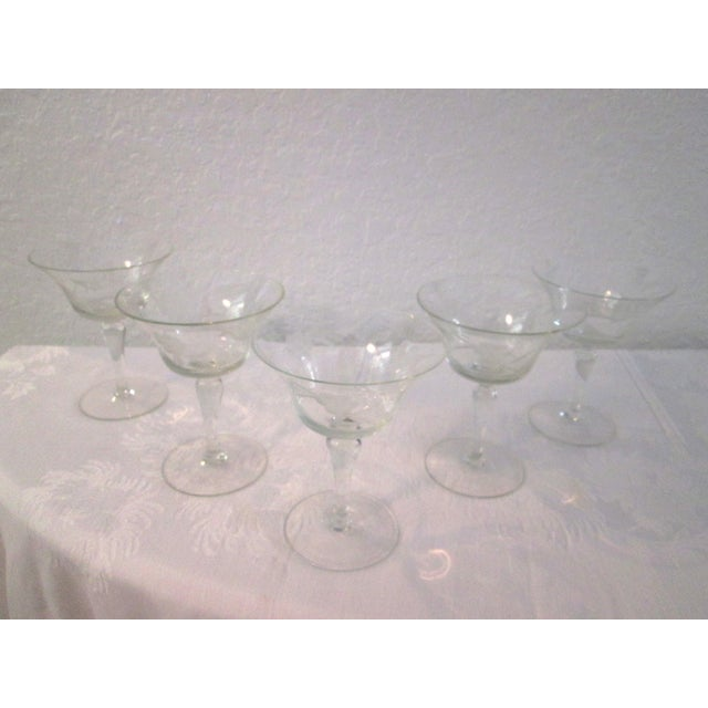 Mid-Century Etched Grape Cocktail Coupes - S/6 - Image 3 of 6
