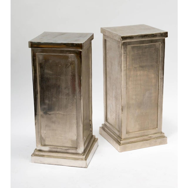 Contemporary Pair of Metal Alloy Pedestals For Sale - Image 3 of 8