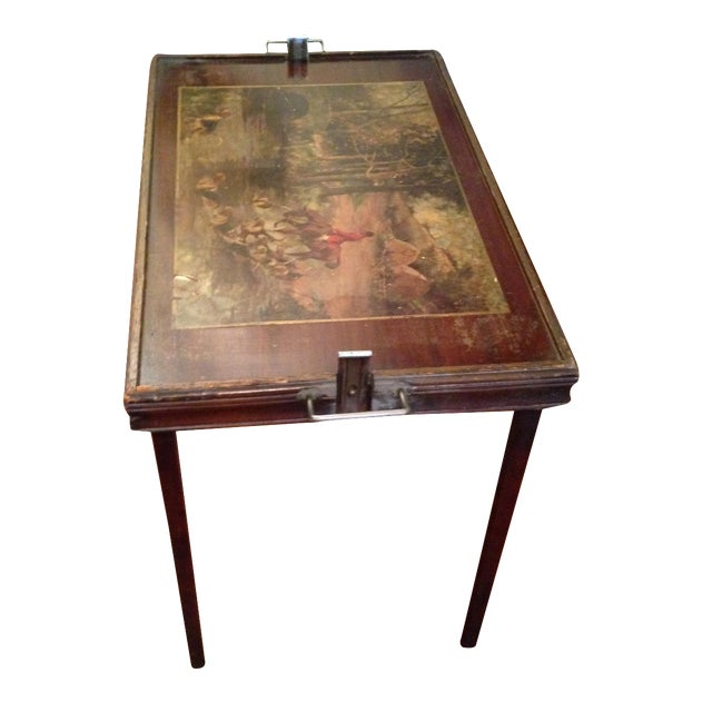 Vintage Hunting Scene Folding Tray Table For Sale