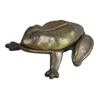 Frog Form Cast Brass Match Box