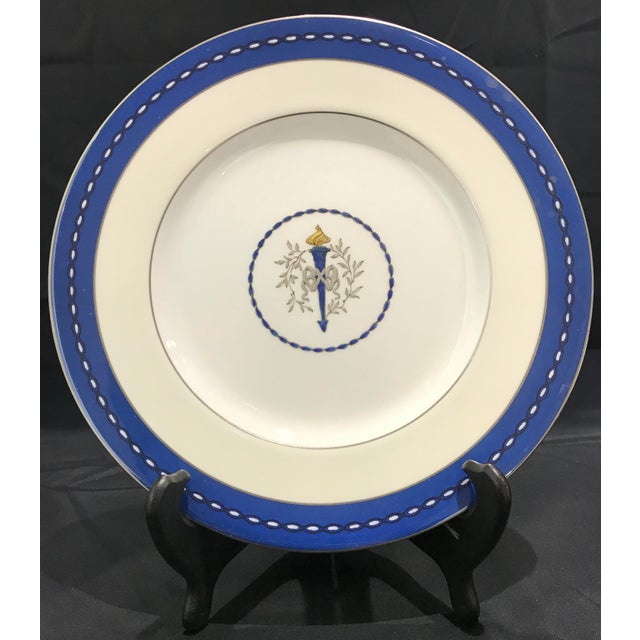 Set of 10 Vintage Minton dinner plates with Handpainted ribbon and torch motif and silvery gold edges. These plates...