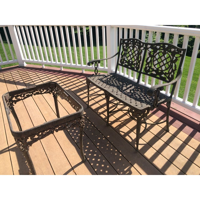 Cast Classics Cast Aluminum Settee & Table - A Pair - Image 10 of 11