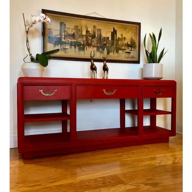 Now available is this beautiful solid wood campaign sofa table, accent table, entryway table, etc,.This piece was made by...