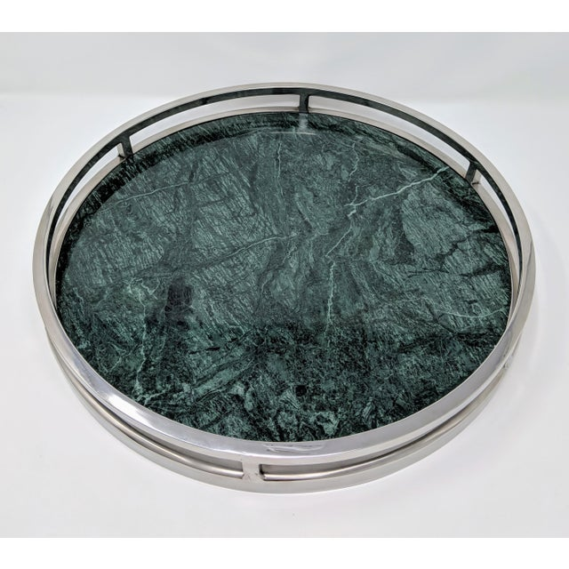 Jonathan Adler Inspired Green Marble and Chrome Serving Tray For Sale - Image 10 of 10