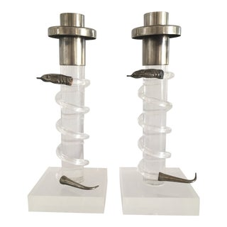 Alessandro Albrizzi Snake Candlesticks - a Pair For Sale