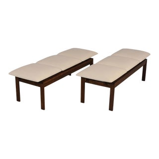 Pair of Brown Saltman Modern Benches For Sale