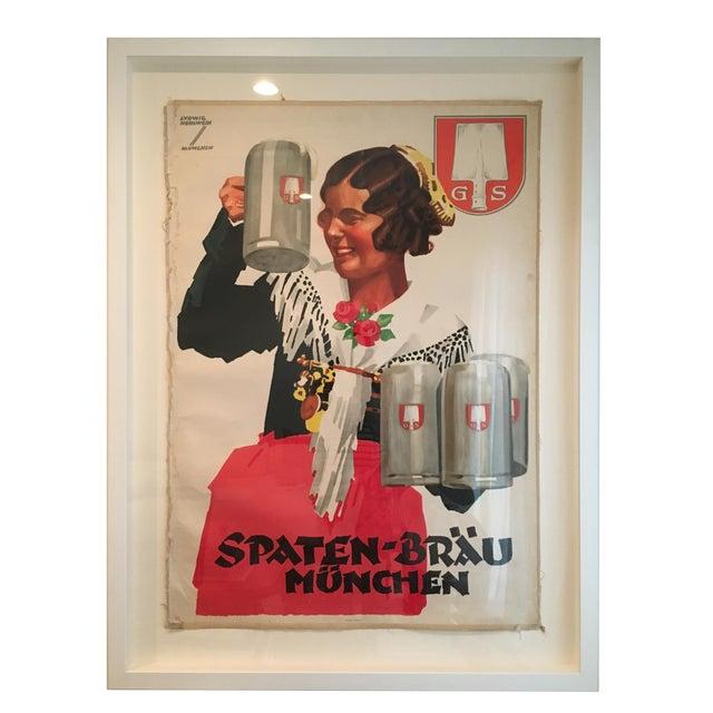 Custom Framed Vintage German Poster For Sale