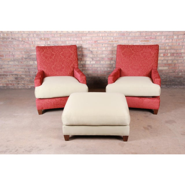 Baker Furniture Contemporary Oversized Down-Filled Lounge Chairs and Ottoman For Sale - Image 13 of 13