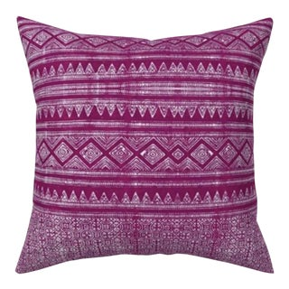 Evil Eye: Fuchsia Hmong Euro Pillow Cover 24x24 For Sale