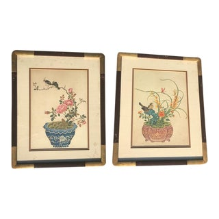 Vintage Chinoiserie Japanese Botanical Lithograph Prints – A Pair