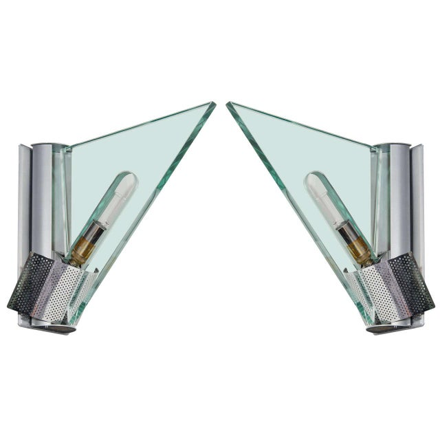 Glass Pair of Italian Modern Architectural Sconces by Carlo Forcolini for Artemide For Sale - Image 7 of 8