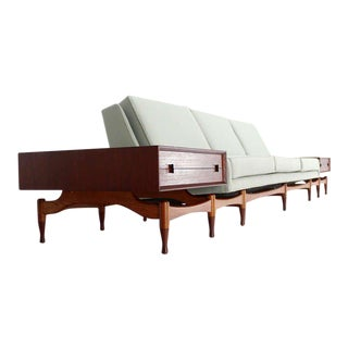 Danish Mid Century Modern Sofa With Built in Teak End Side Tables