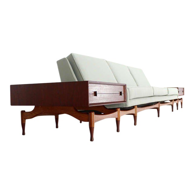 Danish Mid Century Modern Sofa With Built in Teak End Side Tables For Sale