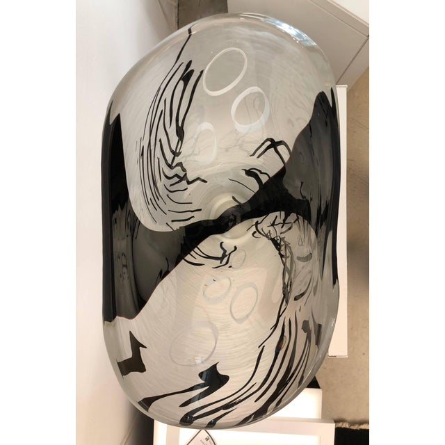 Davide Dona Contemporary Modern Black White and Crystal Clear Murano Glass Sculptural Vase For Sale - Image 4 of 13