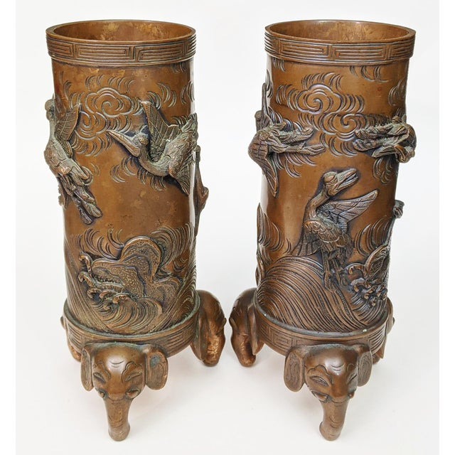 From a fabulous New York City collection, we have a pleasure to offer you this spectacular PAIR of Chinese Bronze Urns /...