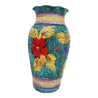 1970s Folk Art Hand Painted Decorative Ceramic Vase
