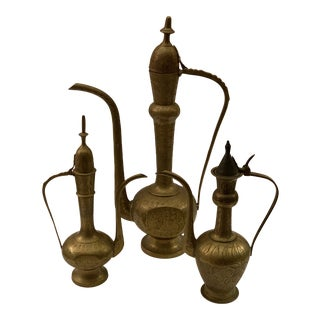 Vintage Etched Indian Brass Collection of 3 Tea/Coffee Pots For Sale