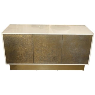 Lacquered Cabinet With Brass Textured Doors For Sale