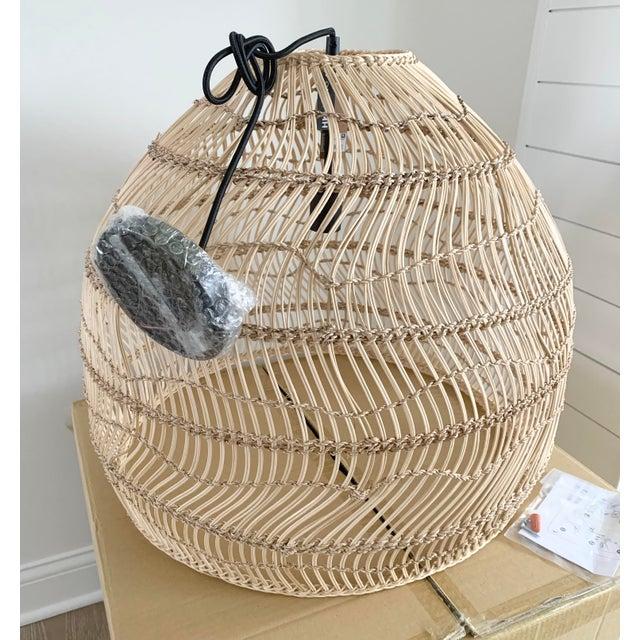 Hk Living Rattan Medium Hanging Dome Pendant Light Fixture ...