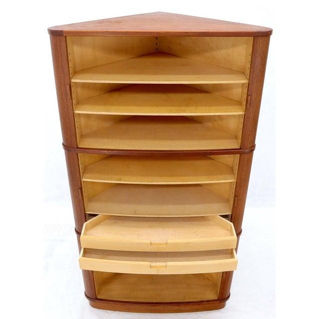 Rare Large Tambour Door Danish Modern Teak Corner Cabinet For Sale - Image 6 of 13