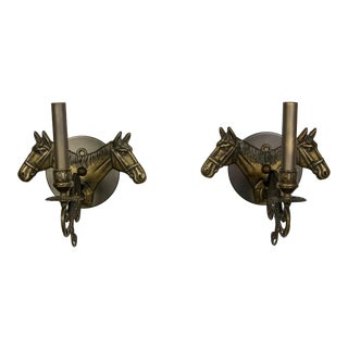 Brass Horse Candelabra Sconces in Oil Rubbed Bronze - a Pair For Sale