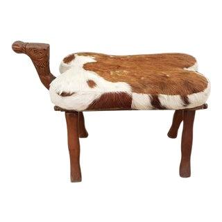 Oriental Vintage Camel Seat Footstool Ottoman For Sale