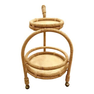 Jamie Young Two Teir Palm Bay Jute Bar Cart For Sale
