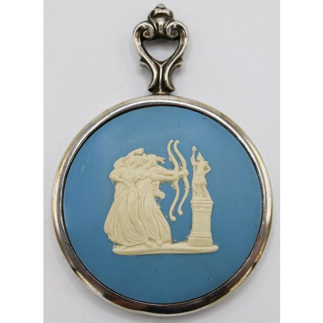 Cornflower Blue Jasperware Sterling Silver Wedgewood Purse Mirror For Sale - Image 8 of 8