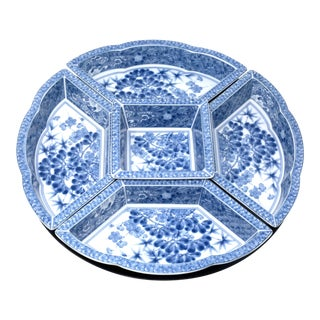 Vintage Japanese Blue and White Lazy Susan - Set of 6 For Sale