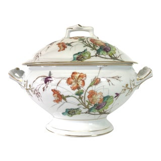 Limoges Delinieres & Co Tureen Late 1800s French Porcelain With Floral Design For Sale