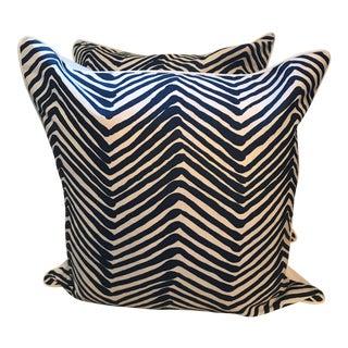 Quadrille Alan Campbell Zig Zag Navy Pillows - A Pair
