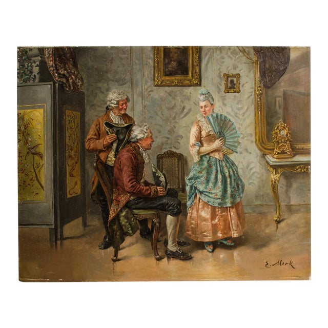 "Mid 19th Century ""Ladies Charm"" Figurative Victorian Oil Painting by Eduard Merk For Sale"
