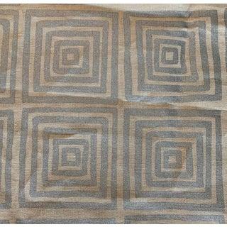 Quadrille Metallic Silver Ziggurat Linen Fabric For Sale