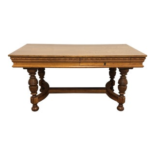 19th Century Traditional Oak Partner Desk