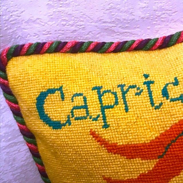 Jonathan Adler Style Vintage Celestial Capricorn Needlepoint Pillow - Image 3 of 6