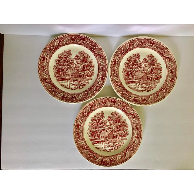 1960s 1960's Royal Ironstone Red Transfer Ware Dinner Plates S/3 For Sale - Image 5 of 5