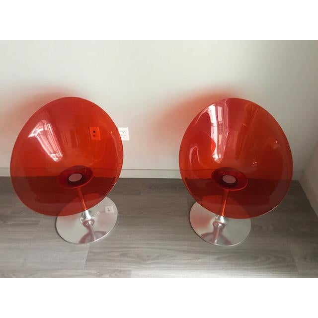 Kartell Opaque Red Chairs by Philippe Starck - A Pair For Sale In Los Angeles - Image 6 of 6