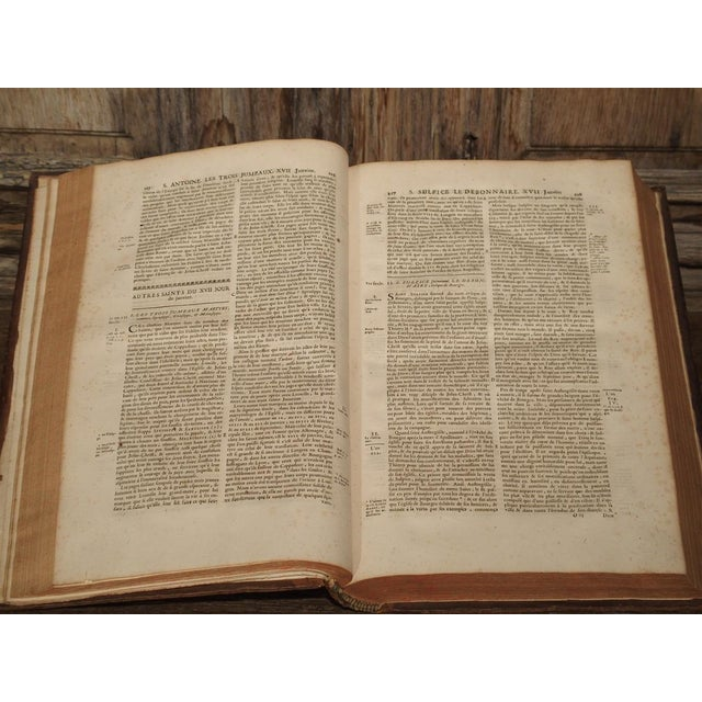 Set of 18th Century French Leather Bound Books, Les Vies Des Saints, 1715 For Sale - Image 10 of 13