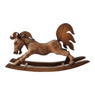 Vintage Hand-Carved Wooden Horse For Sale