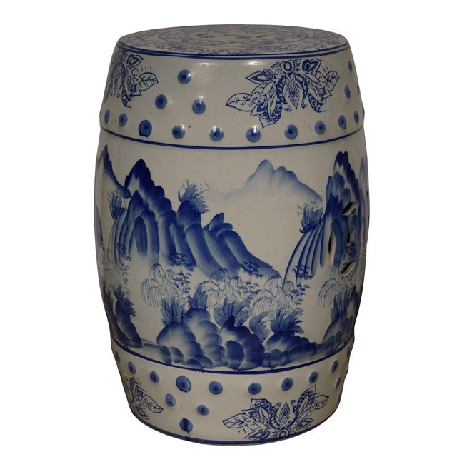 Mid 20th Century Mid 20th Century Vintage Chinese Blue and White Ceramic Stool For Sale - Image 5 of 8