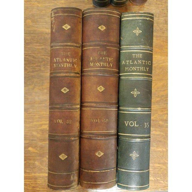 "Victorian Vintage Nine Volume Set ""The Atlantic Monthly"" Leather Books For Sale - Image 3 of 9"