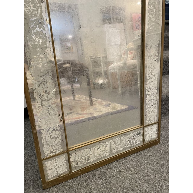 Antique 1920s White Gold Leaf Floor Mirror For Sale - Image 4 of 7