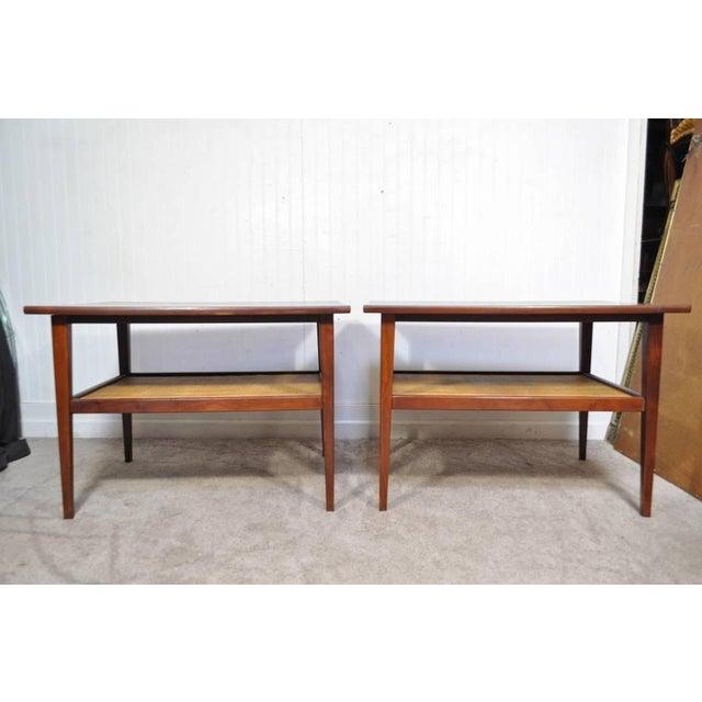 Vintage Pair Mid Century Modern Cane Walnut Laminate Foster Mcdavid End Tables Chairish