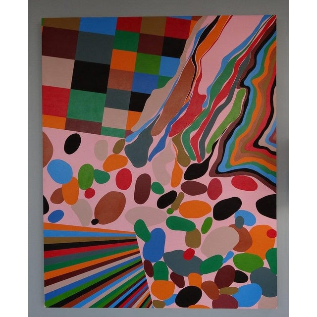 Large format colorful acrylic painting on board by Eric Hibit. Done in 2000.