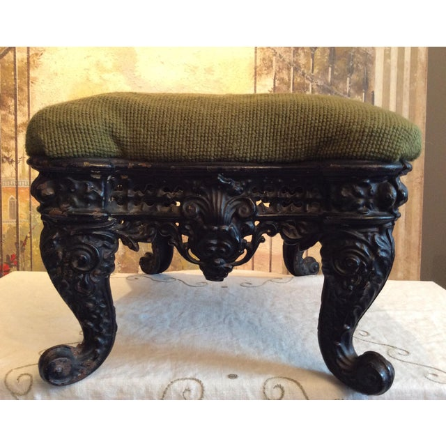 Green 1930s Vintage Victorian Cast Iron Needlepoint Footstool For Sale - Image 8 of 12